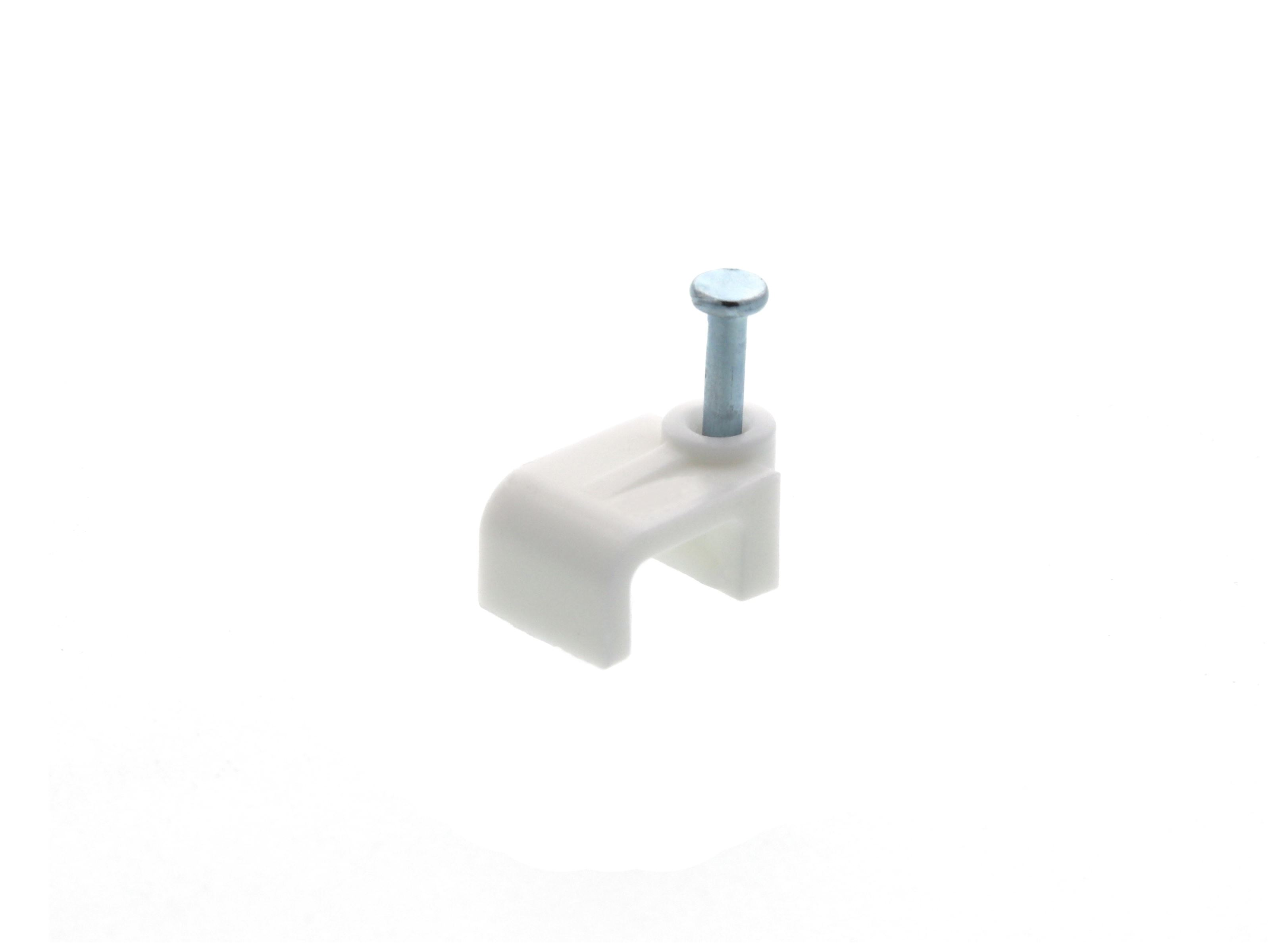 8mm White Flat Nail Cable Clip 100