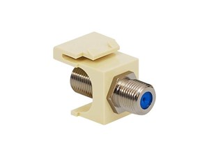 Picture of Coaxial Keystone Jack - F-type Nickel Plated - 3 Ghz - Almond