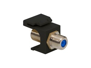 Picture of Coaxial Keystone Jack - F-type Nickel Plated - 3 Ghz - Black