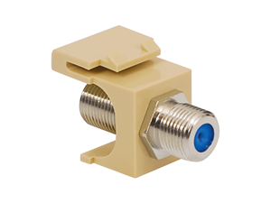 Picture of Coaxial Keystone Jack - F-type Nickel Plated - 3 Ghz - Ivory