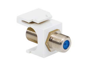 Picture of Coaxial Keystone Jack - F-type Nickel Plated - 3 Ghz - White