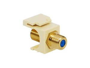 Picture of Coaxial Keystone Jack - F-type Gold Plated - 3 Ghz - Almond