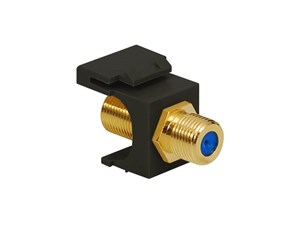 Picture of Coaxial Keystone Jack - F-type Gold Plated - 3 Ghz - Black