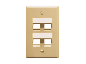 Picture of Faceplate Angled 1-gang 4-port Ivory