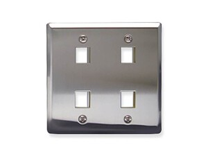Picture of Faceplate Stainless Steel 2-gang 4-port