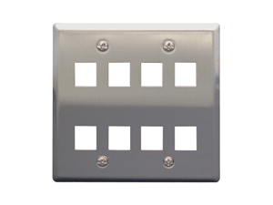 Picture of Faceplate Stainless Steel 2-gang 8-port