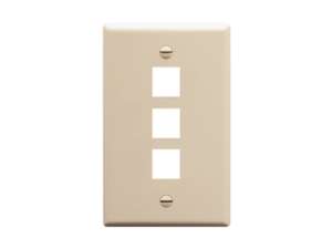 Picture of Faceplate Flat 1-gang 3-port Almond