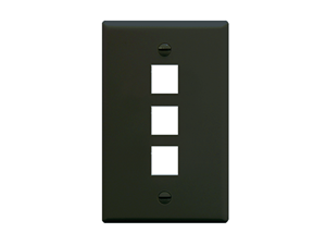 Picture of Faceplate Flat 1-gang 3-port Black