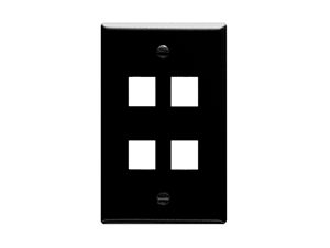 Picture of Faceplate Flat 1-gang 4-port Black