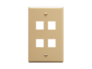 Picture of Faceplate Flat 1-gang 4-port Ivory