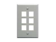 Picture of Faceplate Flat 1-gang 6-port Gray