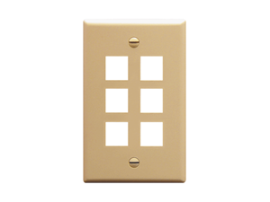 Picture of Faceplate Flat 1-gang 6-port Ivory
