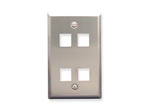 Picture of Blank Faceplate Stainless Steel 1-gang 4-port