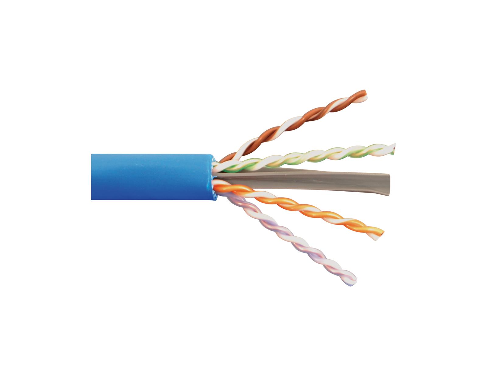 Solid Cat6a Utp 650 Mhz Plenum Cable Blue 1000ft