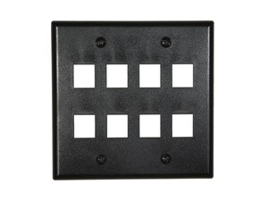 Picture of 8 Port Keystone Faceplate - Dual Gang - Black