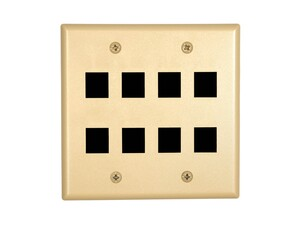 Picture of 8 Port Keystone Faceplate - Dual Gang - Ivory