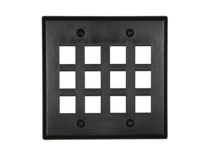 Picture of 12 Port Keystone Faceplate - Dual Gang - Black