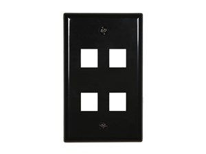 Picture of 4 Port Keystone Faceplate - Single Gang - Black