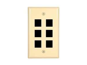 Picture of 6 Port Keystone Faceplate - Single Gang - Ivory