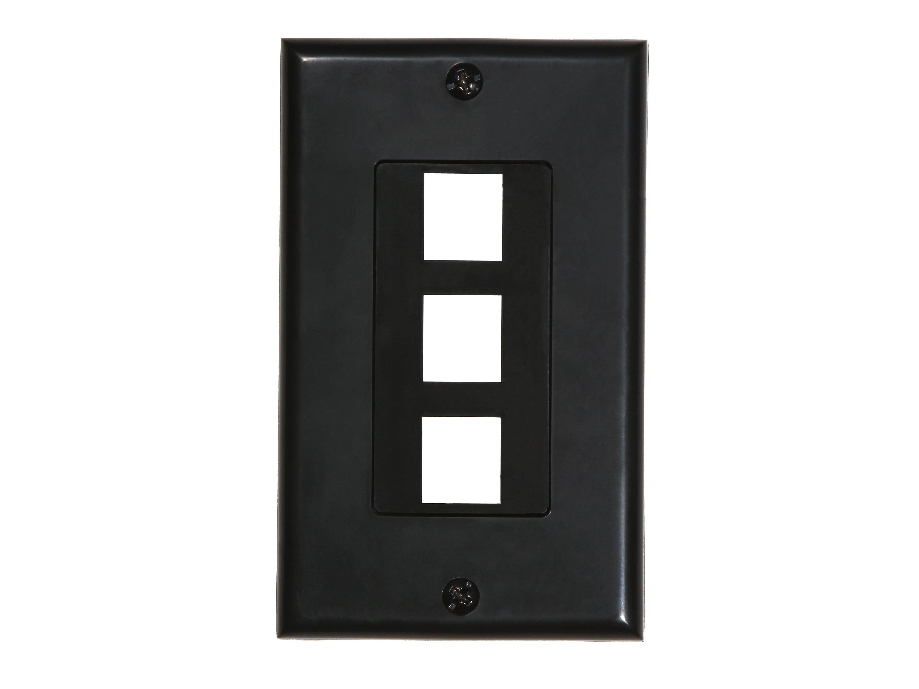 3 Port Decorex Face Plate Insert Black Computer Cable