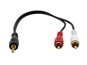 """Picture of .5 FT Audio """"Y"""" Splitter Cable - 3.5mm Male to Dual RCA Males"""