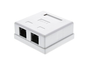 Picture of Surface Mount Box with CAT6 110 Punch Down Terminals -Dual  RJ45 - 8 Conductor