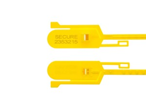 Picture of Security Tie - 15 Inch Tamper Evident Tear Away Yellow Plastic Seal - 100 Pack