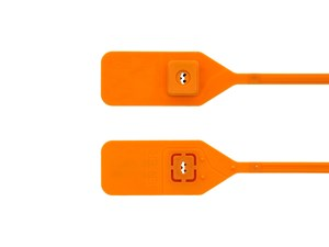 Picture of Security Tie - 13 Inch Blank Standard Orange Tear Away Plastic Seal with Steel Locking Piece - 100 Pack