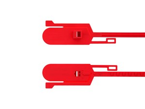 Picture of Security Tie - 15 Inch Blank Tamper Evident Tear Away Red Plastic Seal - 100 Pack