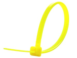 Picture of 4 Inch Fluorescent Yellow Miniature Cable Tie - 100 Pack