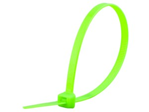 Picture of 8 Inch Fluorescent Green Standard Cable Tie - 100 Pack