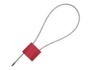 Picture of Security Tie - 12 Inch Red Blank Pull Tight Galvanized Steel Cable Seal with 2.5mm wire - 50 Pack