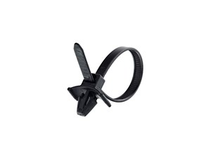 5 Inch UV Black Standard Winged Push Mount Cable Tie