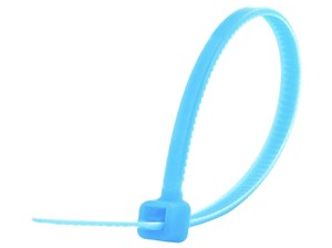 Picture of 4 Inch Fluorescent Blue Miniature Cable Tie - 100 Pack