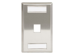 Front view of stainless steel faceplate with 1 port